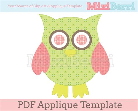 Owl Applique Template by Owl Applique Template Pdf On Luulla