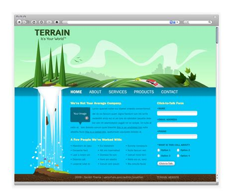 Design Web Layout Illustrator | create a green landscape website in adobe illustrator