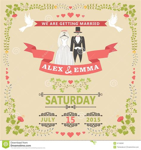 vintage save the date card templates wedding invitation with wedding clothes and floral frame