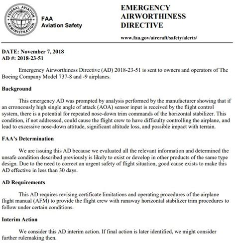 Breaking Faa Issues Emergency Airworthiness Directive For