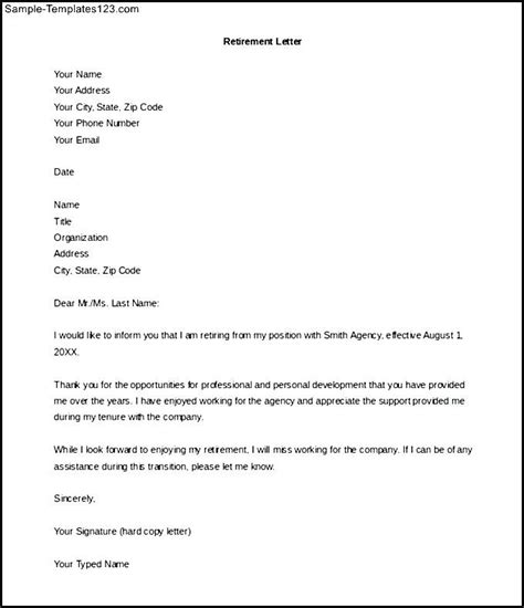 retirement notice letter to employer free word doc sle templates