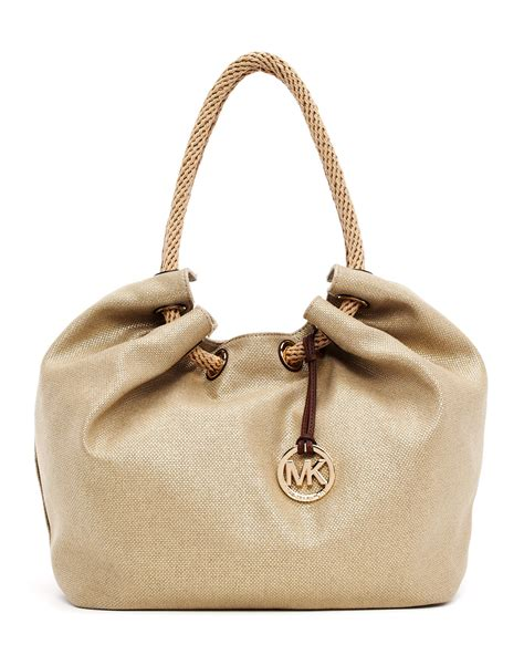 Tote Bag By michael michael kors large marina metallic canvas shoulder tote bag in beige gold lyst