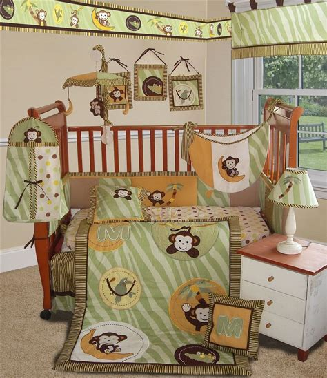 sisi jungle monkey crib bedding collection in green baby