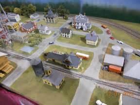 Ho scale model railroad train layout downtown city at oklahoma city