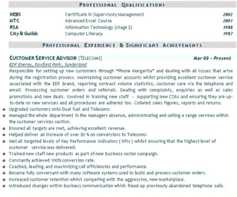 cv exle for customer service computer support computer support cv exle