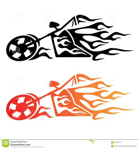 Indian Motorrad Emblem by Flaming Custom Chopper Motorcycle Logo Stock Vector