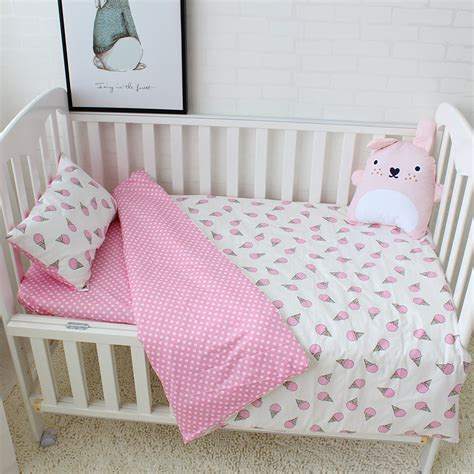 3pcs Baby Bedding Set Cotton Soft Breathable Crib Bedding Soft Crib Mattress For Toddler
