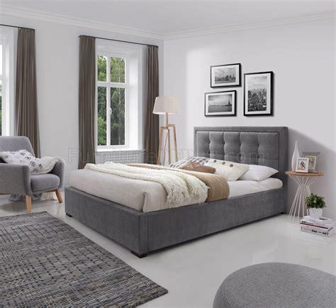 duke upholstered platform bed  grey fabric  jm