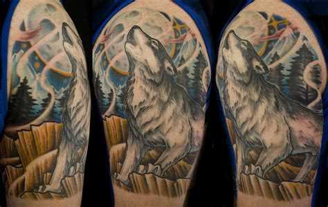 wolf arm tattoo great wolf 5 wolf half sleeve on