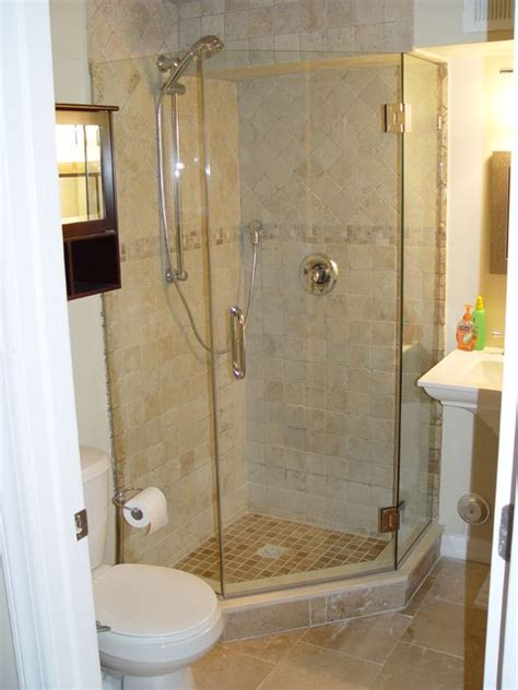 Corner Showers For Small Bathrooms by Tiled Corner Shower Except With Pennies On The Floor Of