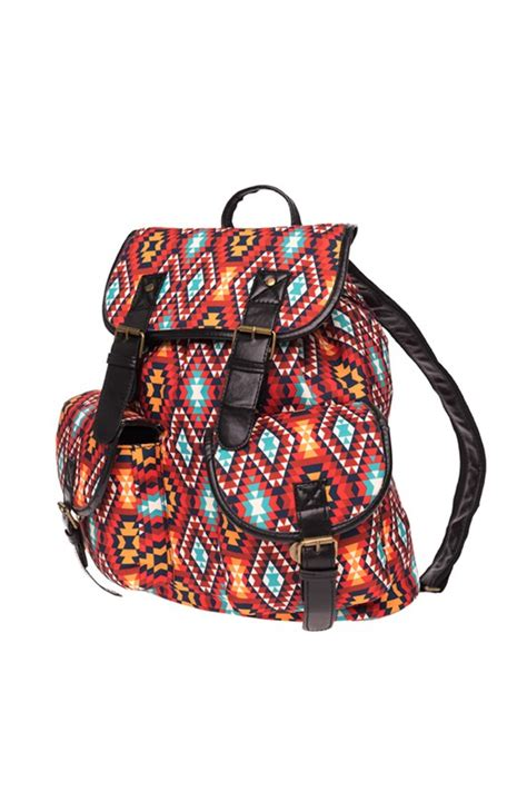 Print Canvas Backpack aztec print canvas backpack from zohra