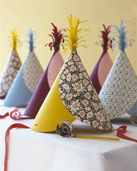 Handmade New Year Decorations - pattern blocked hats martha stewart