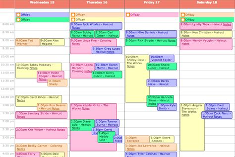 hair salon appointment plan calendar template 2016