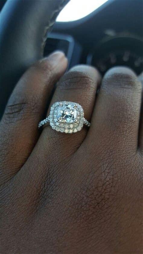 One carat center stone double halo cushion cut engagement ... 1 Carat Cushion Cut Halo Engagement Ring