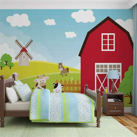 cartoon bedroom wallpaper farm cartoon boys bedroom wall paper mural buy at