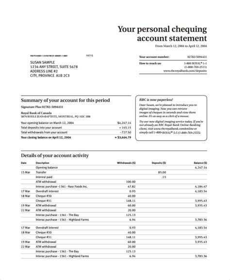 20 Sle Statements Sle Templates Checking Account Statement Template
