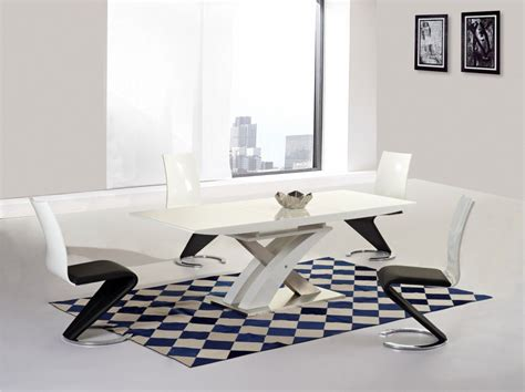 Dining Table Glass Top 6 Chairs mayfair xo white glass top high gloss white base extending dining table with 6 leona chairs