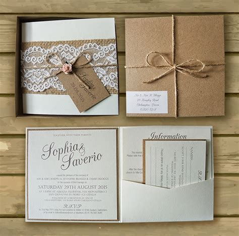 hessian wedding invitations knots and kisses wedding stationery bespoke boxed kraft lace hessian and pink wedding