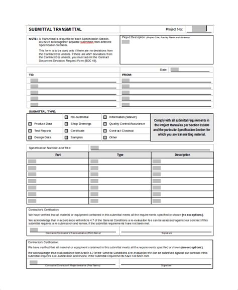 construction document templates sle submittal transmittal form 7 documents in pdf word