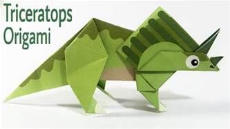 How To Make Origami Dinosaur Triceratops - triceratops tutorial easy dinosaur origami