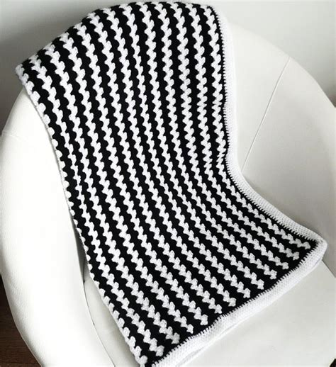 black and white knit pattern crochet baby blanket black and white stripes by