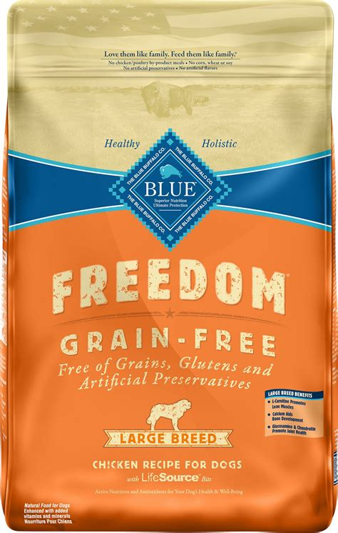 blue puppy food blue buffalo freedom large breed chicken recipe grain free food 24 lb