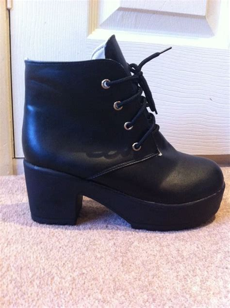 chunky black block heel lace up ankle boots size 4 or 3 ebay