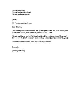 employment confirmation letter template