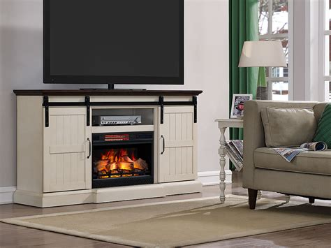 Hogan Electric Fireplace TV Stand in Weathered White