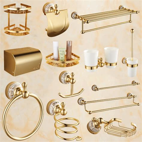 antique gold bathroom accessories sets aluminum alloy