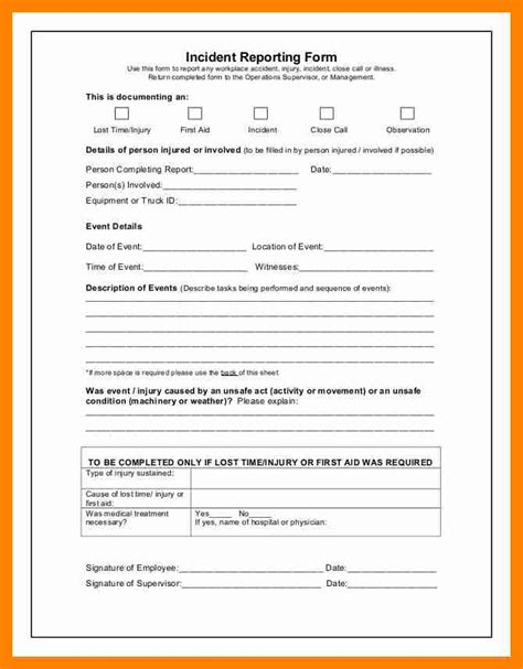 near miss incident report template 12 near miss report sle resumes great