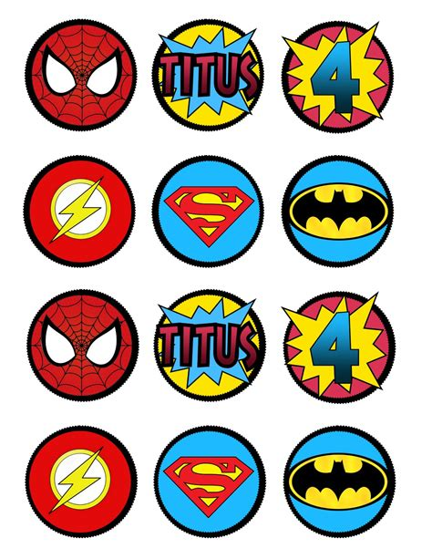 printable super heroes pictures super hero cupcake toppers or decorations by lots o lydia