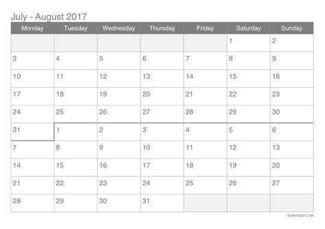Printable Calendar July August 2017 | july and august 2017 printable calendar icalendars net
