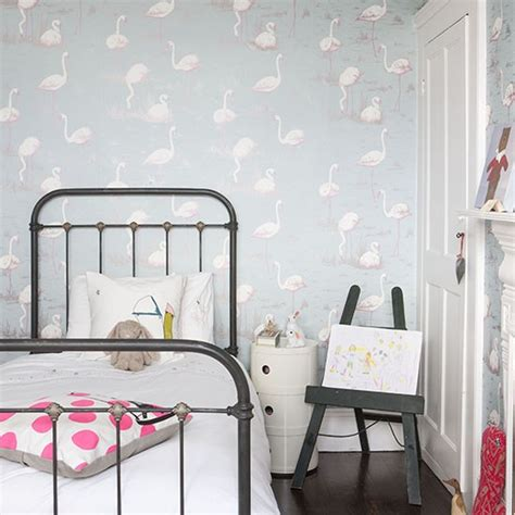 flamingo wallpaper bedroom child s room with flamingo wallpaper traditional