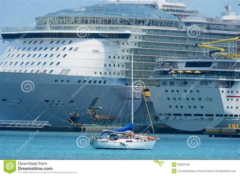 yacht vs ship cruise ship and yacht royalty free stock photo image