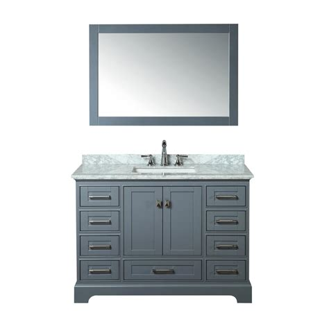 gray mirrored vanity with statuary marble top stufurhome newport 48 in w x 22 in d vanity in gray with