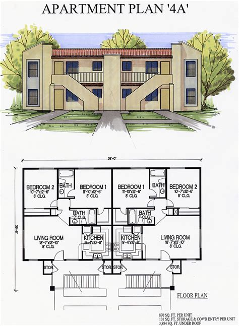 4 plex apartment plans apartments4a