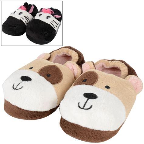 childrens animal slippers childrens cosy plush padded animal novelty slippers