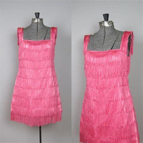 vintage  fringe shimmy dress  pink   dress