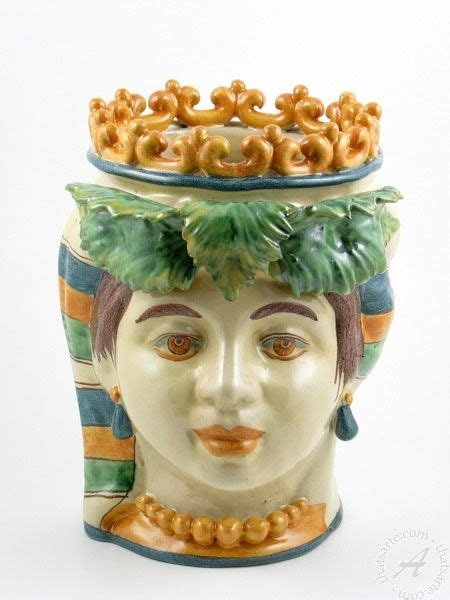 lade di ceramica italian ceramics planter vase with crown