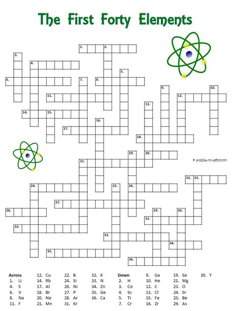 printable puzzles hints crossword puzzle with the first forty elements the clues