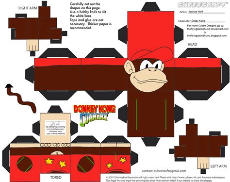 Kong Papercraft - vg17 diddy kong cubee by theflyingdachshund on deviantart