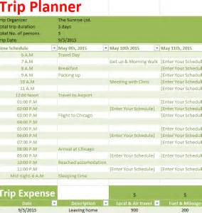 Planning A Trip Template by Trip Planner My Excel Templates