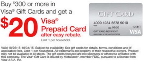 Staples Visa Gift Card Rebate - 20 rebate with 300 in visa gift cards at staples frequent miler