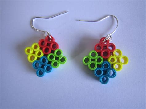 Handmade Paper Quilling Earrings - handmade jewelry paper quilling four square earrings