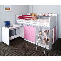Charleston storage loft bed with desk white and pink carton 1