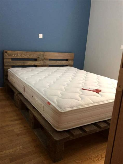 bed made from pallets rustic king size pallet bed pallet furniture diy