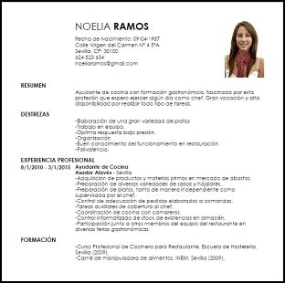 Modelo Curriculum Vitae Gastronomico Modelo Curriculum Vitae Ayudante De Cocina Livecareer