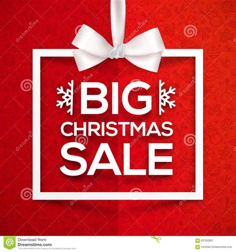 big christmas sale white gift box frame label on stock