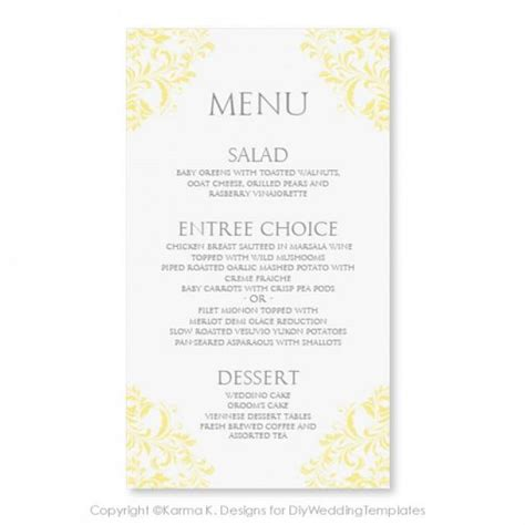 wedding menu choice template image collections templates
